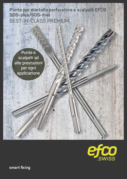 La gamma completa di punte e scalpelli EFCO SDS-plus/SDS-max